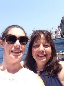 "Mom and my triumphant ""didn't get sea sick"" selfie on the rowboat"