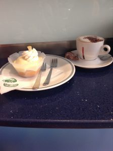 Lemon cake and cappuccino